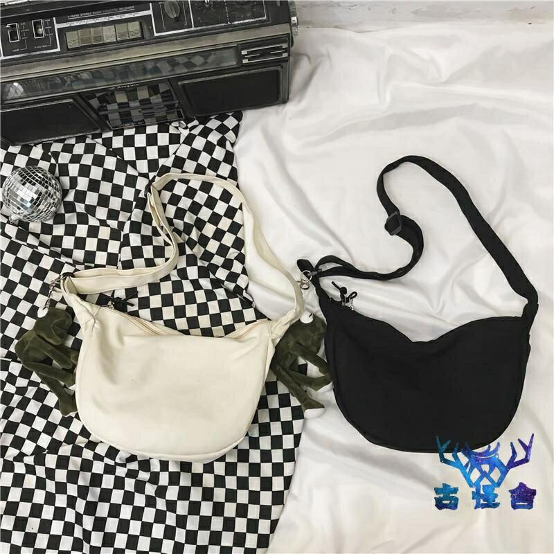 單肩側背包帆布包簡約創意包包女工裝風斜背百搭運動
