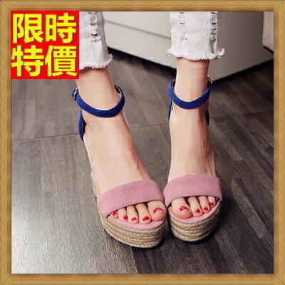楔型涼鞋厚底涼鞋-時尚拼色草編高跟真皮女坡跟涼鞋69w44【獨家進口】【米蘭精品】