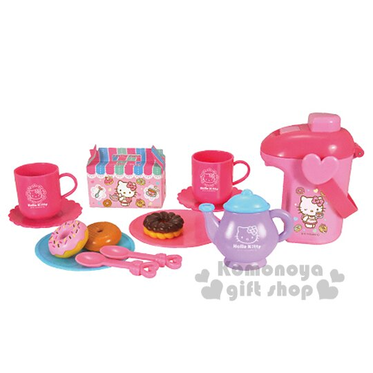 〔小禮堂嬰幼館〕Hello Kitty 扮家家酒下午茶玩具組《粉.熱水瓶.甜甜圈.泡殼紙卡》
