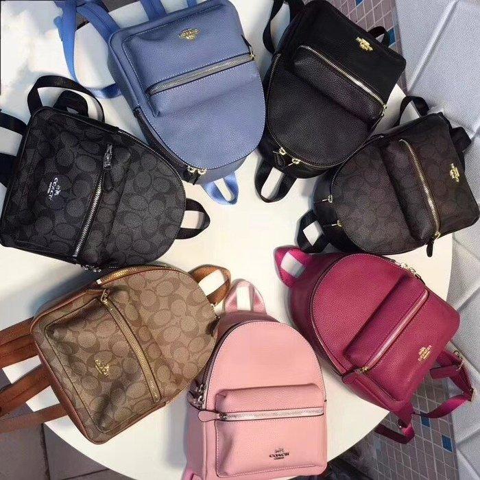 *vivi shop*COACH正品F38263、38288 雙肩包(小、大號) 素面荔枝紋牛皮款 後背包 .(Outlet代購) 時尚風格 多色可選 限量現貨出清特惠 -附代購憑證