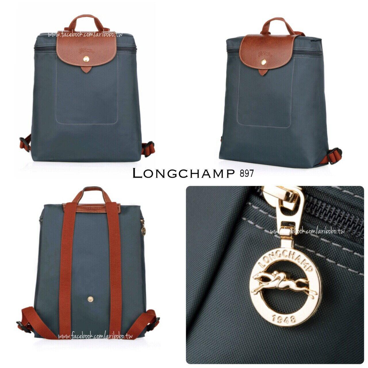 【LONGCHAMP】 LE PLIAGE 石墨灰折疊後背包 2