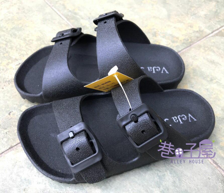 【巷子屋】童款一體成型防水勃肯拖鞋 黑色 MIT台灣製造 超值價$198