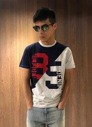 美國百分百【Tommy Hilfiger】T恤 TH T-shirt 短袖 短T Logo 色塊撞色 深藍灰色 J147