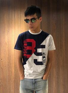 美國百分百【TommyHilfiger】T恤THT-shirt短袖短TLogo色塊撞色深藍灰色J147