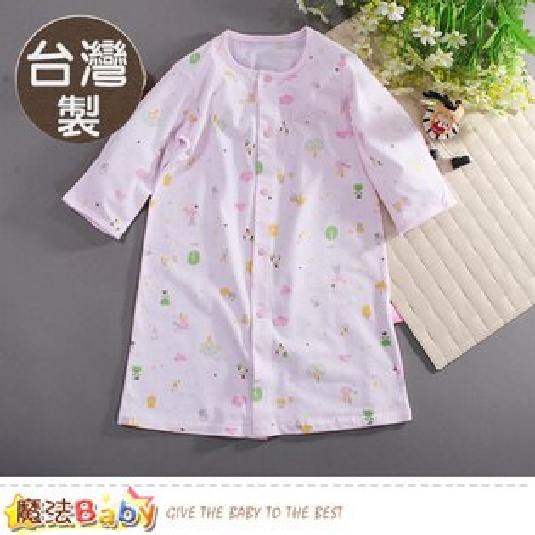 嬰兒長袍台灣製春夏薄款純棉護手長睡袍連身衣魔法Baby~b0046