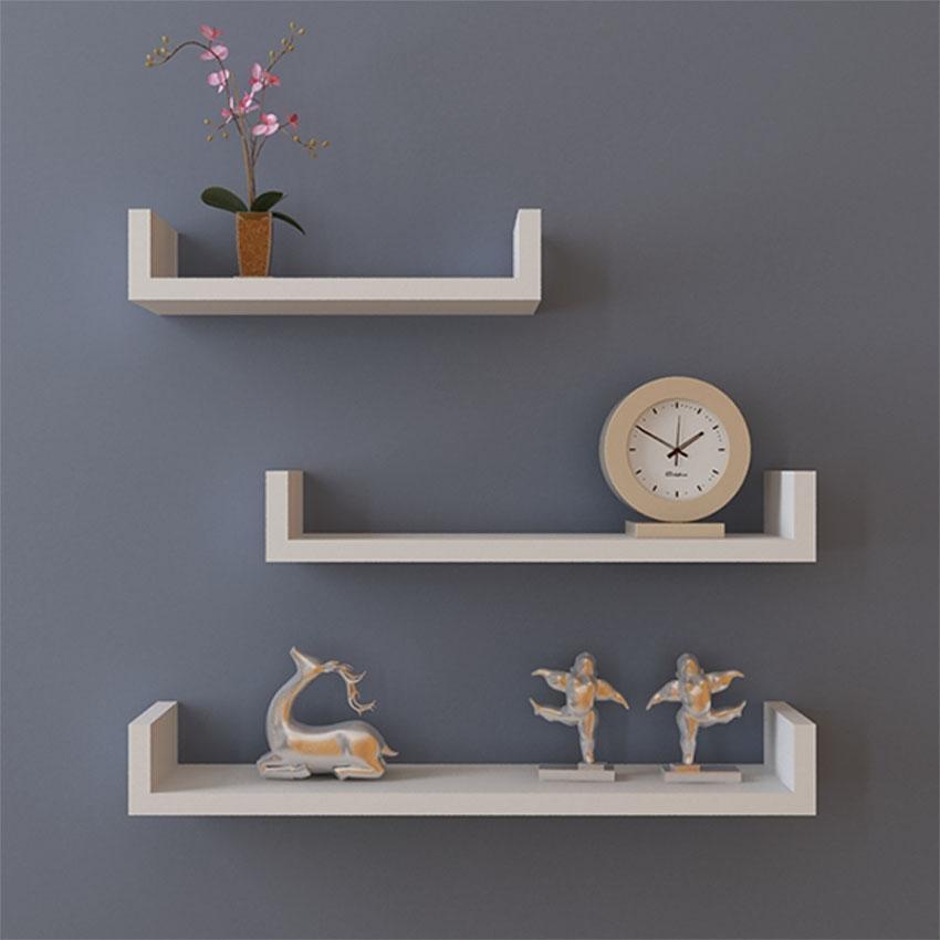 Set of 3 U Shape Floating Wall Shelves Storage Display Shelf Black/White/Red 0