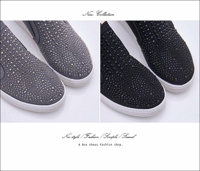 格子舖*【KiT809】嚴選質感麂皮水鑽 隱形內增高4CM 厚底3CM休閒鞋 懶人鞋 2色 1