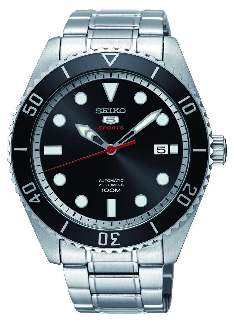 SEIKO 精工 5號23石復刻盾牌機械錶 騎士黑 晶鑽銀 4R35-02D0D(SRPB91J1) 44mm 0