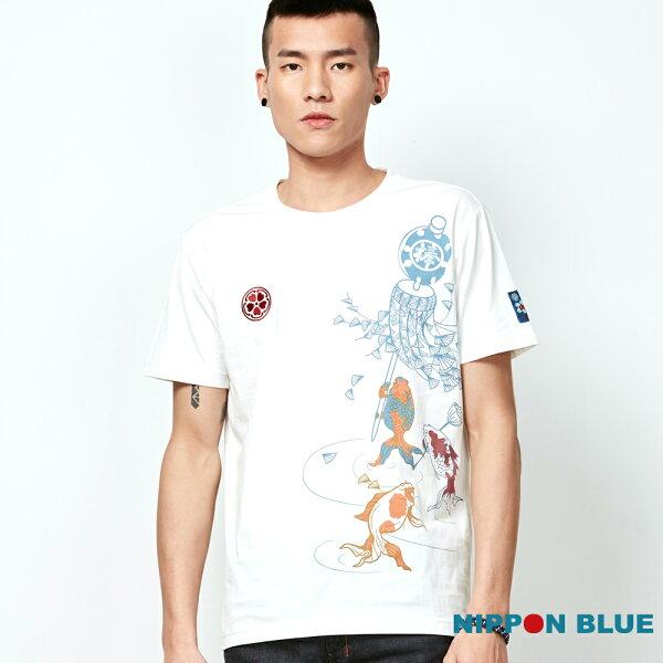 【春夏新品】棒系列-風吹幡動金魚舉幡印花短TEE(白)-BLUEWAYNIPPONBLUE日本藍