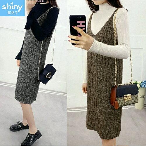 【V2234】shiny藍格子-韓范氣質.V領吊帶針織毛衣連身裙