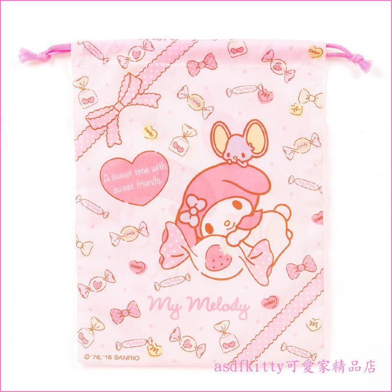 asdfkitty可愛家☆美樂蒂糖果版 束口袋20.5×27cm 收納袋/置物袋-也可當禮物袋-日本製