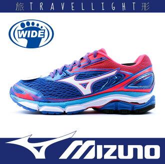 【MIZUNO 美津濃】WAVE INSPIRE 13 女慢跑鞋 學生鞋 舒適 輕運動 透氣 柔軟 寬楦 藍桔色 Travellight旅形