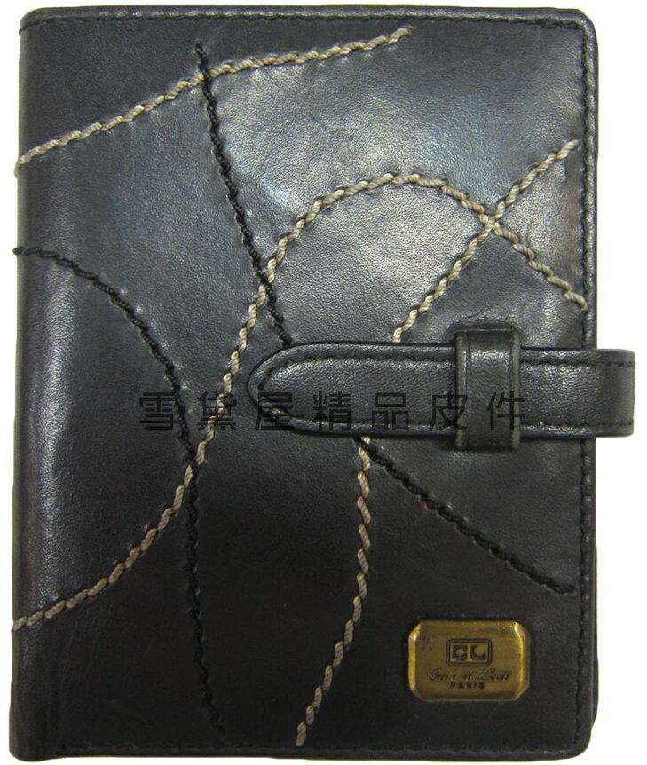 ~雪黛屋~cecile 名片夾信用卡夾皮夾中性復古懷舊風格皮帶穿扣型二折式主袋100%進口牛革材質WJFP64549