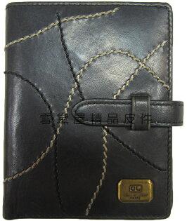 ~雪黛屋~cecile名片夾信用卡夾皮夾中性復古懷舊風格皮帶穿扣型二折式主袋100%進口牛革材質WJFP64549