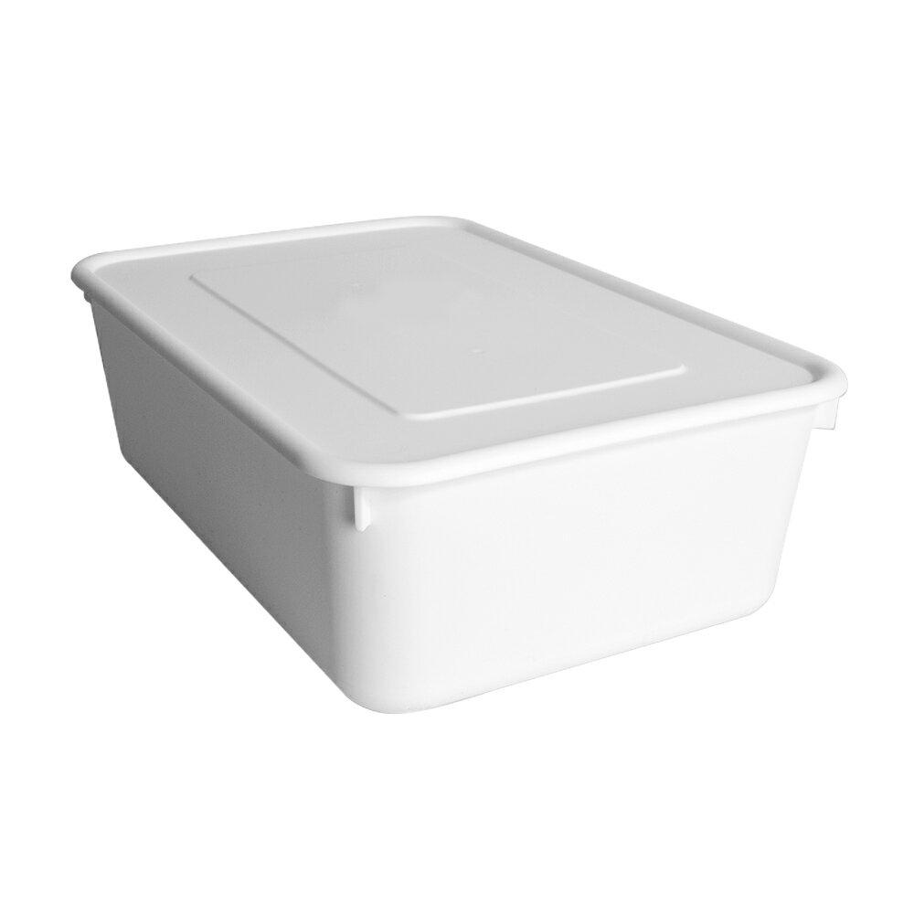HOUSE【005157-01】純白牛奶附蓋收納盒-圓角3號-大低桶(6入) 台灣製造