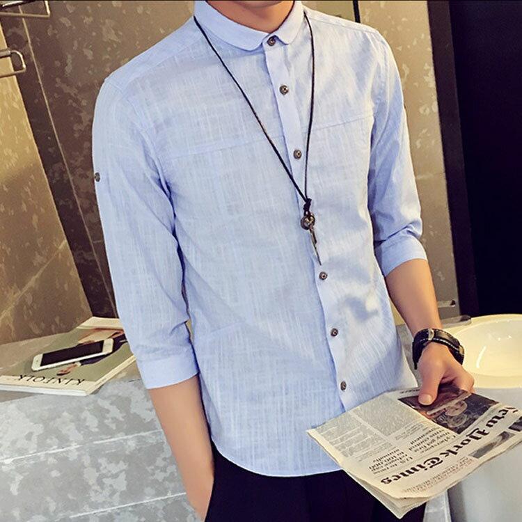 日系亞麻7分袖襯衫