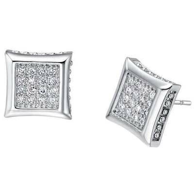 純銀耳環鍍白金鑲鑽耳飾~ 古典方塊情人節生日 女飾品73cz18~ ~~米蘭 ~