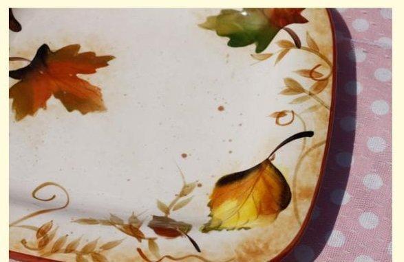 手繪釉下彩楓葉陶瓷正方形水果盤 點心盤 零食盤 糖果盤 雜物盤