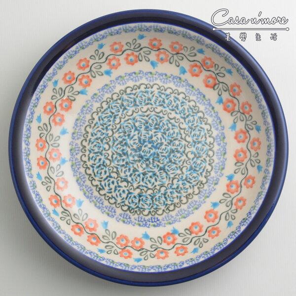 波蘭陶紅花綠蔓系列圓形深餐盤陶瓷盤菜盤水果盤圓盤深盤22cm波蘭手工製