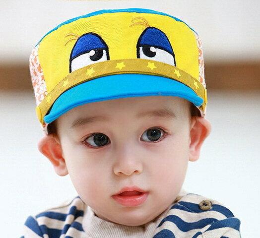Lemonkid◆趣味俏皮卡通大眼睛星星滾邊千鳥格造型兒童帽-藍色帽檐