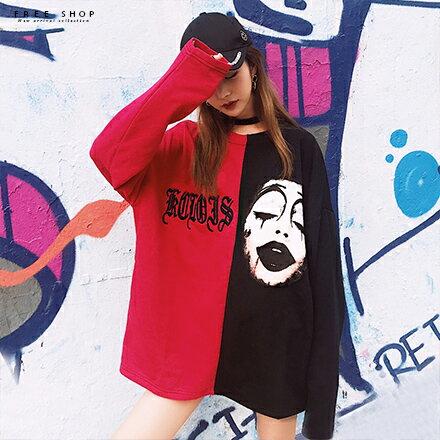 Free Shop:FreeShop男女情侶款潮流長T黑紅色塊拼接小丑哥德字體寬鬆圓領棉質長袖T恤潮T上衣【QTJG78】