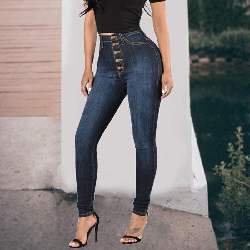 牛仔褲丹寧小腳褲-高腰紐扣簡約彈力女長褲73wx2【獨家進口】【米蘭精品】 2