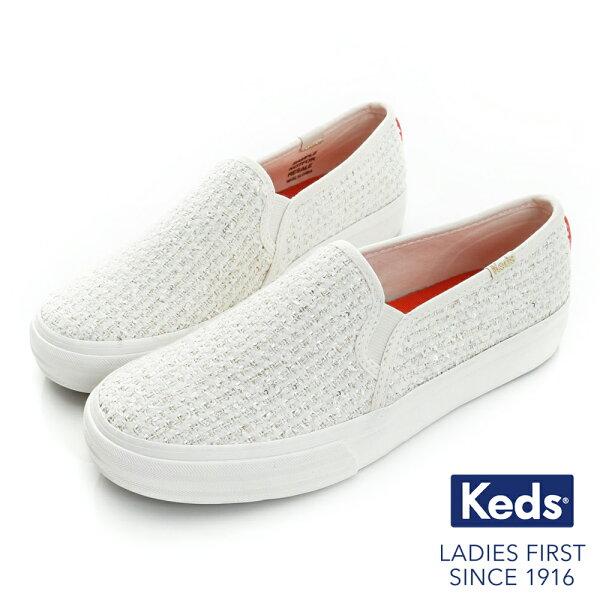 【Keds促銷7折│全店免運】KedsDOUBLEDECKER套入式亮片線紗休閒鞋奶油白