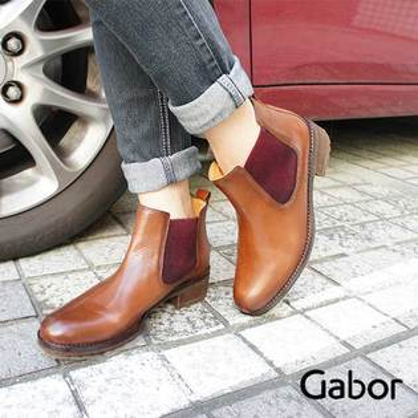 【GABOR促銷7折│全店免運】Gabor皮革毛呢拼接低跟短靴咖啡色