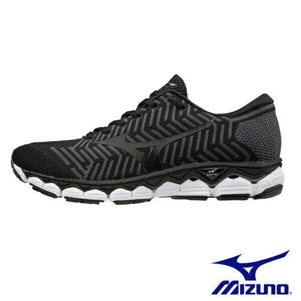 【MIZUNO促銷8折│全店免運】MIZUNO(女)WAVEKNITS1女慢跑鞋黑-J1GD182509