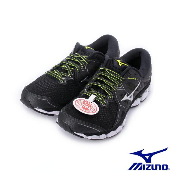 【MIZUNO促銷8折】MIZUNOWAVESKY2一般型男款慢跑鞋黑白J1GC181104男鞋