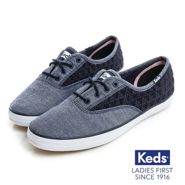【KEDS促銷85折│全店免運】KedsCHAMPION雛菊繡花鏤空帆布鞋-藍