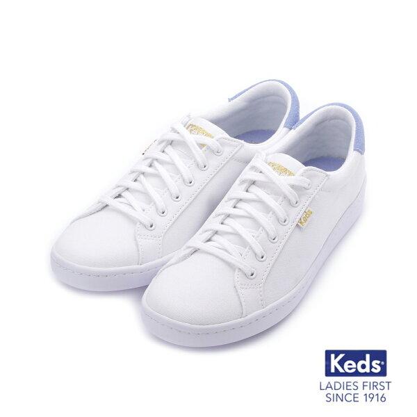 【KEDS促銷85折】帆布拼色綁帶休閒鞋白淺紫183W132659女鞋