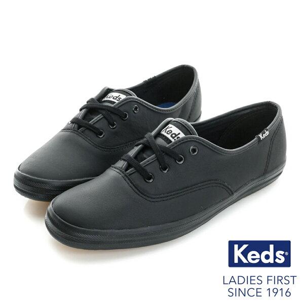 【KEDS促銷85折】KEDSCHAMPION品牌經典皮革休閒鞋-黑