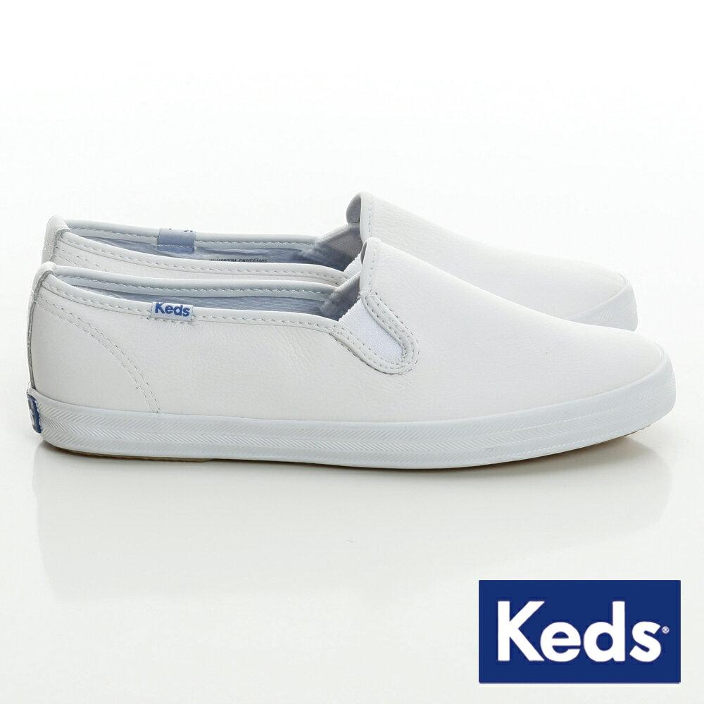 KEDS CHAMPION SLIP ON -W110018經典皮革休閒鞋-白