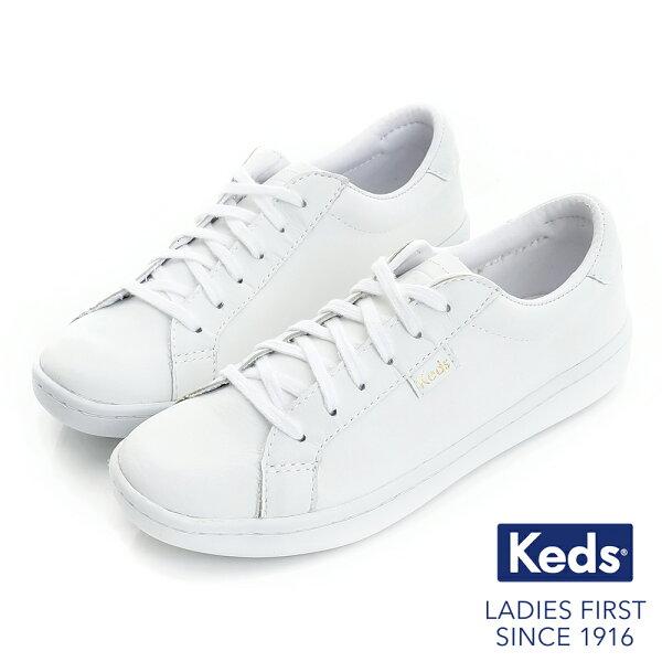 【Keds促銷85折】ACE皮革綁帶休閒鞋-白