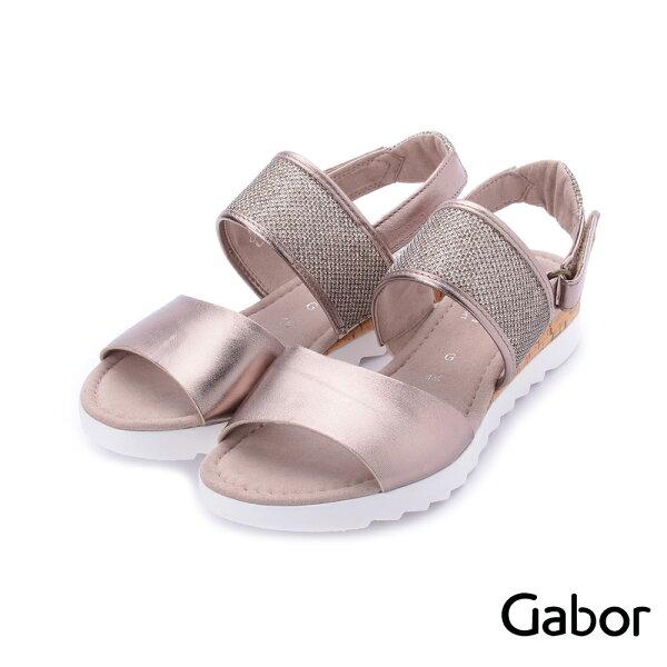 【629-715GABOR新品上市8折】GABOR金屬感雙寬帶繞踝平底涼鞋粉金82.742.64女鞋