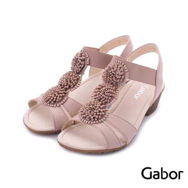 【629-715GABOR新品上市8折】GABOR皮革立體小花低跟涼鞋粉84.563.24女鞋