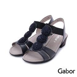 GABOR 皮革立體小花低跟涼鞋 深藍 84.563.26 女鞋