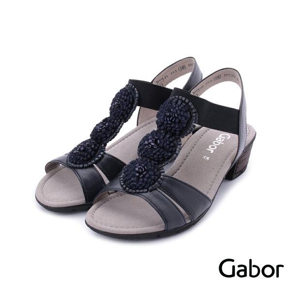 【629-715GABOR新品上市8折】GABOR皮革立體小花低跟涼鞋深藍84.563.26女鞋