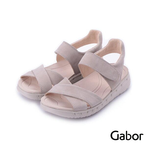 【629-715GABOR新品上市8折】GABOR輕羽量繞踝魔鬼氈休閒涼鞋米84.730.14女鞋