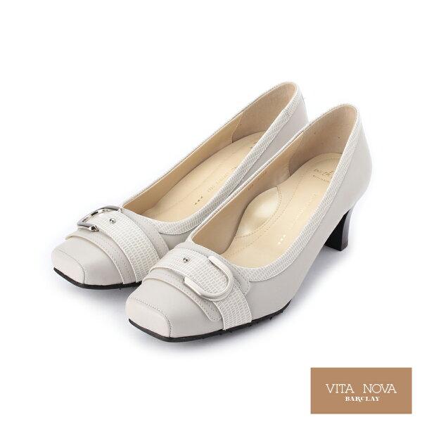 【KAWANO促銷9折】全真皮金屬皮帶飾釦跟鞋│日本製女鞋灰073234X女鞋