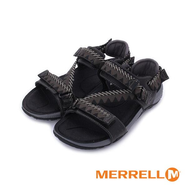 【MERRELL促銷8折】MERRELLTerrantConvertible男真皮織帶涼鞋ML93915-黑