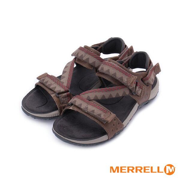 【MERRELL促銷8折】MERRELLTerrantConvertible男真皮織帶涼鞋ML93915-咖