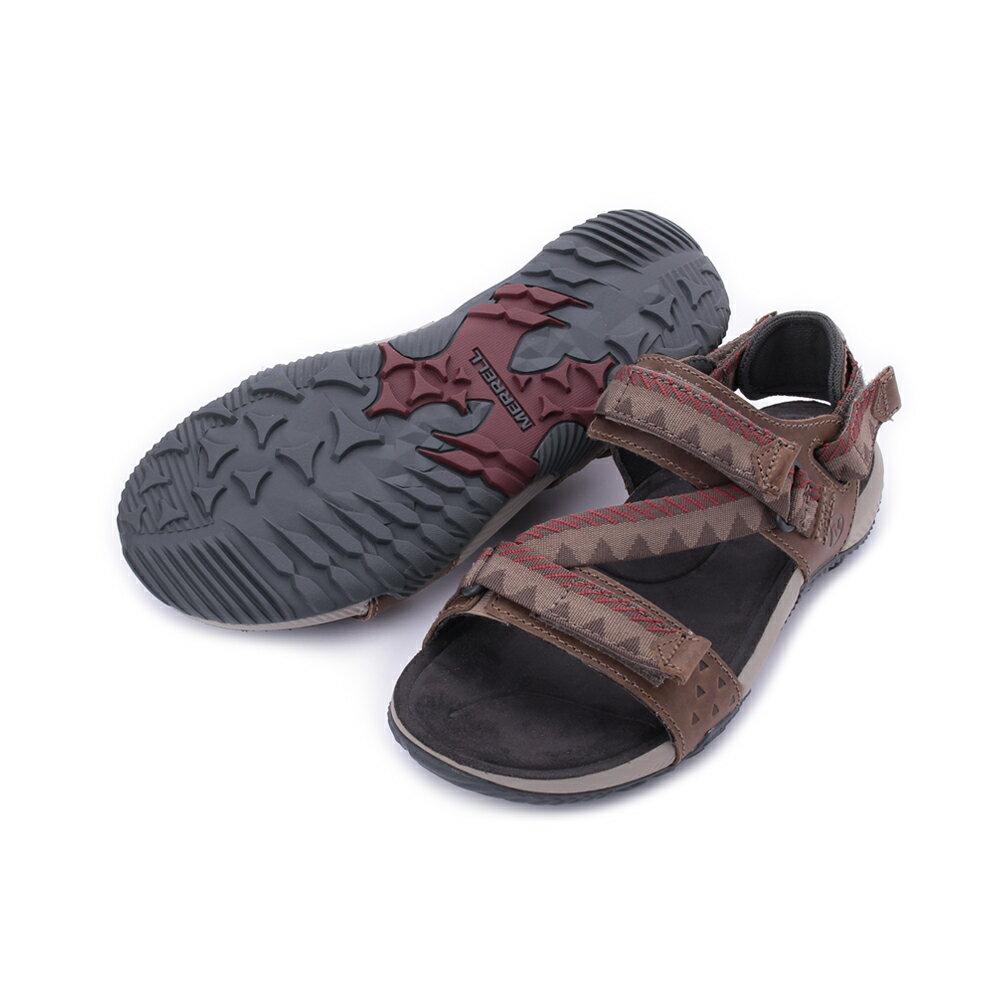 MERRELL Terrant Convertible 男真皮織帶涼鞋 ML93915-咖 4