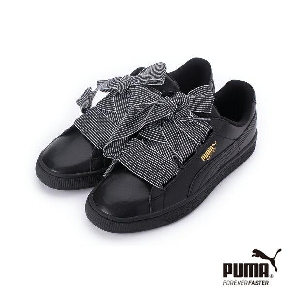 【PUMA促銷8折】PUMABASKETHEART蝴蝶結絲帶漆皮運動休閒鞋黑365198-01女鞋