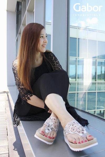 【GABOR 單一降價 │全店免運│】GABOR  雕紋簍空高雅騰滾邊夾腳涼拖鞋 粉 7