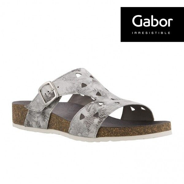 Gabor 三角簍空T字型扣環涼拖鞋 銀灰 1