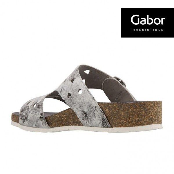 Gabor 三角簍空T字型扣環涼拖鞋 銀灰 2