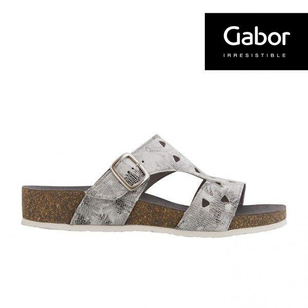 Gabor 三角簍空T字型扣環涼拖鞋 銀灰 3