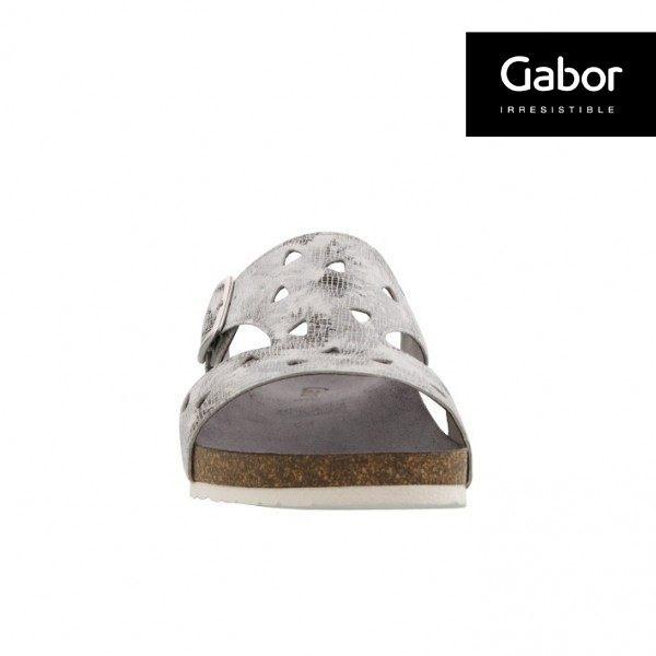 Gabor 三角簍空T字型扣環涼拖鞋 銀灰 4
